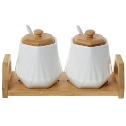 Набор сахарниц 330мл с ложками (2 шт) на бамбуковой подставке Naturel