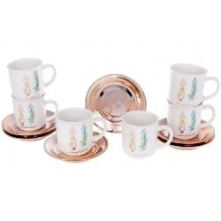 Набор (6шт) чашек керамических 250мл с блюдцем Плюмаж
