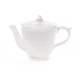 Чайник керамический 900мл, Королевская лилия, цвет - белый
