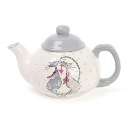 Чайник керамический 790мл с объемным рисунком Влюбленные коты