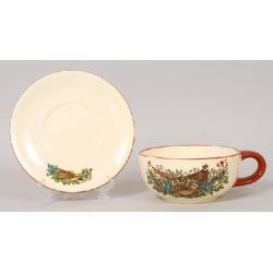 Чашка керамическая 450мл с блюдцем Фазаны