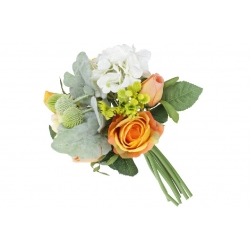 Декоративный букет из Роз и Гортензии, 30см, цвет - белый с оранжевым