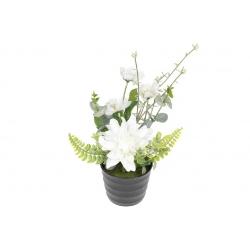 Декоративные цветы в горшочке, 24см, цвет - белый