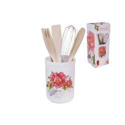 Подставка керамическая в наборе с кухонными принадлежностями 26см Райский сад