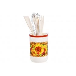 Подставка керамическая в наборе с кухонными принадлежностями Подсолнухи