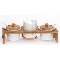 Набор для специй Naturel: солонка, перечница и 2 сахарницы с ложками на бамбуковой подставке