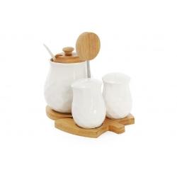 Набор для специй Naturel ромб: солонка, перечница и сахарница с ложкой на бамбуковой подставке