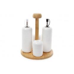 Набор для специй Naturel кружево: 4 предмета - солонка, перечница и две бутылки для масла и уксуса 230мл на бамбуковой подставке