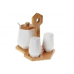 Набор для специй Naturel: солонка, перечница, сахарница 330мл с ложкой на бамбуковой подставке