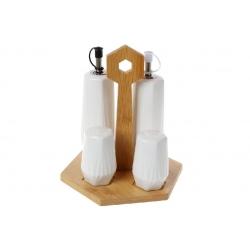 Набор для специй Naturel: солонка, перечница и две бутылки для масла и уксуса 170мл на бамбуковой подставке