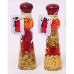 Декоративная бутылка с овощами, 16.7см, 3 вида