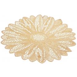 Подтарельник круглый 38см Ажурный цветок, цвет - золото