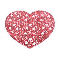 Подтарельник фигурный 38см Сердце, цвет - красный