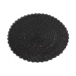 Подтарельник круглый 38см Вязанная салфетка, цвет - черный