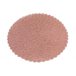 Подтарельник круглый 38см Вязанная салфетка, цвет - пепел розы