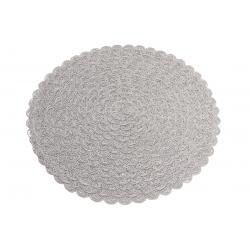Подтарельник круглый 38см Вязанная салфетка, цвет - серый