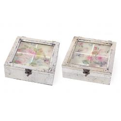 Коробка для чая деревянная со стеклянной крышкой Птицы, цвет - серебро антик