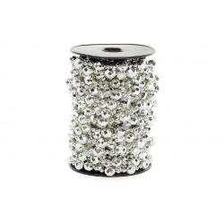 Бусы пластиковые фигурные, цвет - серебро 10мм*10м