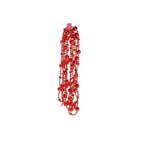 Бусы пластиковые фигурные, цвет - красный, 14мм*2.7м