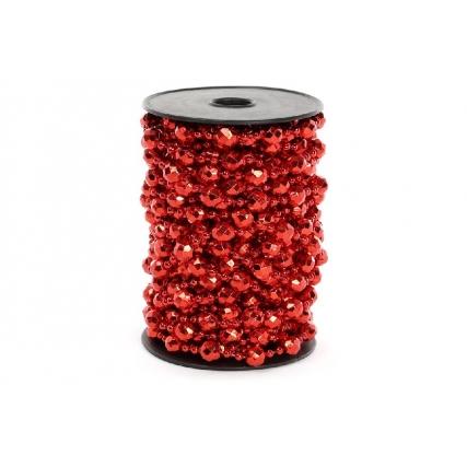Бусы пластиковые фигурные, цвет - красный, 10мм*10м