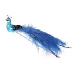 Декоративная птица 24см, цвет - синий