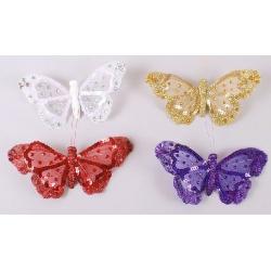Декоративная бабочка 19см, 4 вида