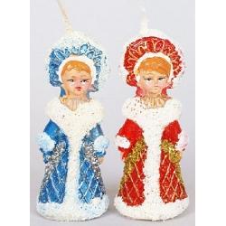 Декоративная новогодняя свеча Снегурочка 8.4см, 2 вида