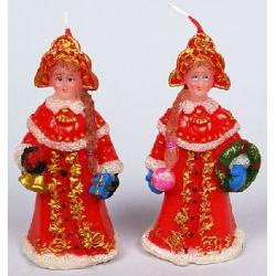 Декоративная новогодняя свеча Снегурочка 10.9см, 2 вида