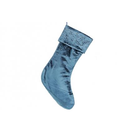 Бархатный сапожок для подарков со стразами, 45см, цвет - ночной синий