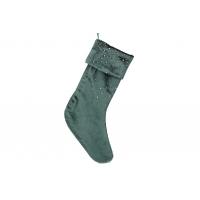 Бархатный сапожок для подарков со стразами, 45см, цвет - классический зеленый