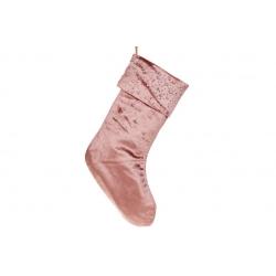 Бархатный сапожок для подарков со стразами, 45см, цвет - карминово-розовый