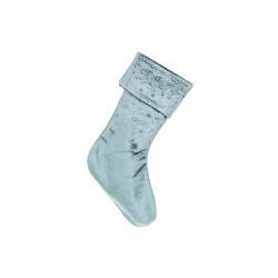 Бархатный сапожок для подарков со стразами, 45см, цвет - винтажный бирюзовый