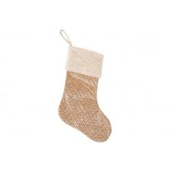 Декоративный новогодний Сапожок для подарков 53см, цвет - шампань