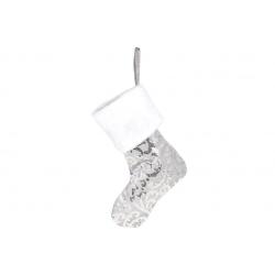 Декоративный новогодний Сапожок для подарков 43см, цвет - серебро