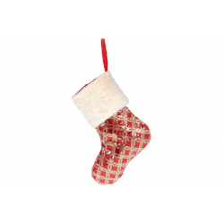 Декоративный новогодний Сапожок для подарков 43см, цвет - красный с золотом