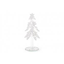 Декоративная стеклянная елка 16см, цвет - белый