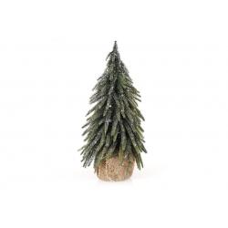 Елка декоративная заснеженная в джутовом мешочке, 27см