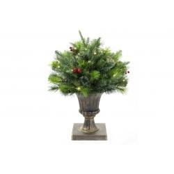 Декор из искуственной хвои и ягод в вазоне, 50см, 201 ветка, 50 LED, свет - теплый белый
