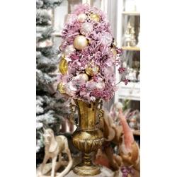 Декоративная композиция в металлическом кашпо Розовый букет