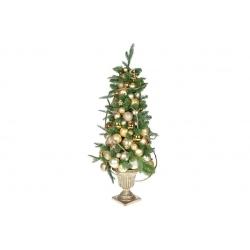 Елка украшенная в декоративном горшке, цвет - золото