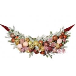 Подвесной декор из веток хвои и стеклянных шаров, 120*38см