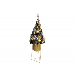 Декоративная композиция 98см из стеклянных и пластиковх шаров с LED гирляндой в металлическом кашпо