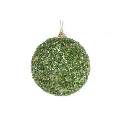 Елочный шар 10см, зеленый с покрытием лёд