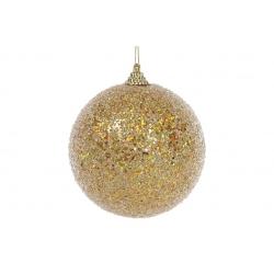 Елочный шар 10см, золотой с покрытием лёд