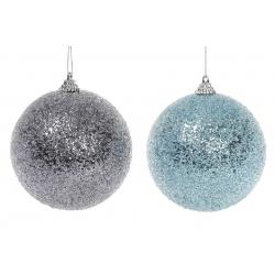Елочный шар 10см с покрытием лёд, 2 цвета в асс. - голубой и графтный