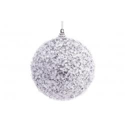 Елочный шар 10 см, цвет - серебристый с покрытием лед