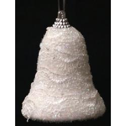 Елочное украшение 6.5см Колокольчик белое кружево