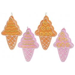 Елочное украшение Мороженое 15см, 4 вида