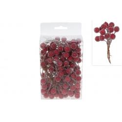Набор (150 шт) декоративных ягод в инее, 1,2 см, цвет - бордо