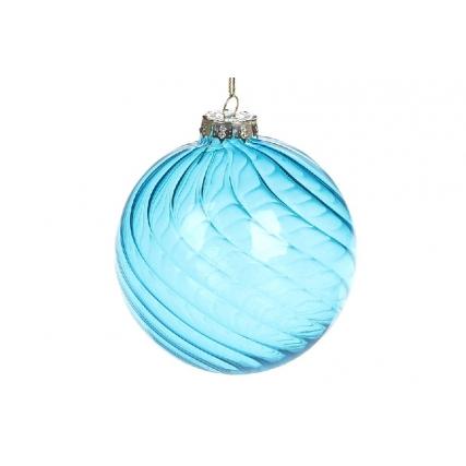 Елочный шар витой формы, прозарчное стекло, 10см, цвет - голубая лазурь